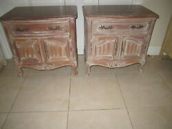 Vintage French By Century Carved Washed Wood Nightstand  Two Doors Set Two