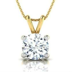 Women Necklace Round Colorless 4 Prong Wedding Si2 D 18 Karat Yellow Gold 1 Ct