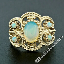 Vintage 14k Yellow Gold Oval And Round Opal Open Bead Work Wide Cigar Band Ring