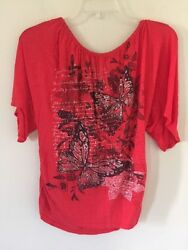 Mary Jane Red Orange Tie Back Butterfly Print Front Blouse Top Women Size S