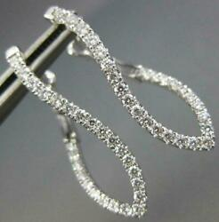 Estate .68ct Diamond 18kt White Gold Inside Out Infinity Love Hanging Earrings