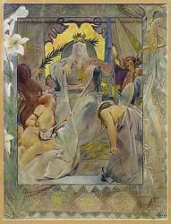 Andre Castaigne / Print Veiled King On Throne Surrounded By Nymphs Signed 1897