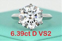 $850000 Tiffany Co Solitaire 6.39ct D VS2 Round Diamond Platinum Engagement Ring