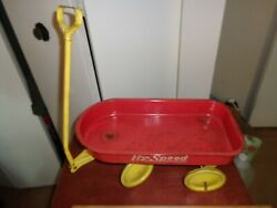 Original Hy-speed Small Pull Toy Red Wagon W/ Yellow Wheels