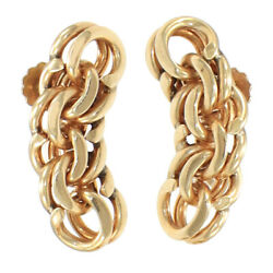 And Co. Curb Double Chain Link Drop Earrings 14k Yellow Gold 26mm Vintage