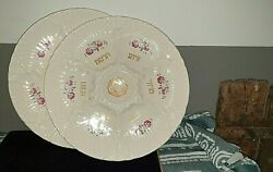 Vintage 70's Lot Of 2 Pesach Porcelain Plates Judaica Cermony Hand Made In Eng