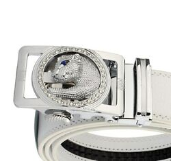Rare Panther Face Design Menand039s Belt Buckles In 925 Silver With Cz And Sapphire Eye