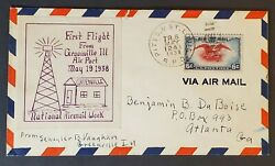 1938 Greenville Il Atlanta Ga Pitts And St Louis Rpo First Flight Greenville Cover