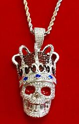 """Men#x27;s 14K White Gold Finish SKULL W CROWN AND BAGUETTE TEETH Pendant W 22""""Chain $64.80"""