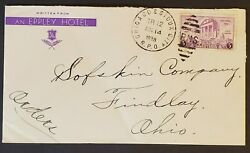 1938 Chicago And Sioux City Rpo To Findlay Ohio Eppley Hotel Advertising Cover