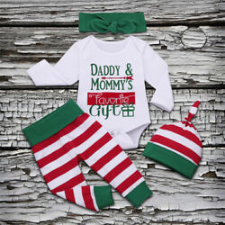 US Newborn Baby Boy Girl First Christmas Clothes Romper Pants Xmas Outfits 4PCS