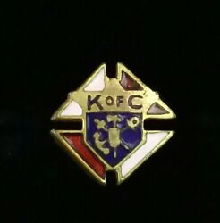 Vintage Knights Of Columbus Gold Filled Gf Enamel Button Pin Ref243