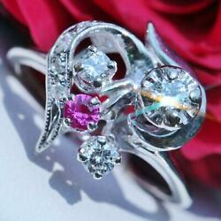 1920and039s Antique 14k White Gold 0.50ct Fvvs2 Diamond Ruby Size 3.75 Ring 2.4gr