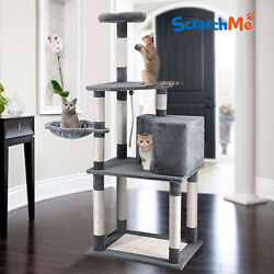 ScratchMe Cat Tree Tower Condo w Hammock Scratching Post amp; Perches for Big Cats