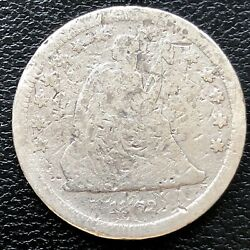 1862 S Seated Liberty Quarter 25c Rare Circulated Damaged Corroded 19677