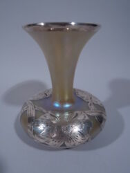 Alvin Vase - Art Nouveau American Iridescent Glass And Silver Overlay