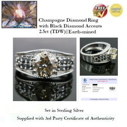 2.5ct Tdw Champagne Diamond Ring With Black Accents - Sterling Silver + Coa