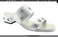 Silver Leather Calfskin Crystal Stars Mules Sz. 40/9 Sold Out Limited Ed
