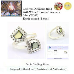 3.1ct Tdw Blue Diamond Ring With White Accents - Sterling Silver + Coa Ggil