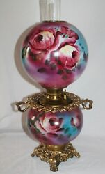 Rare Antique Gone With The Wind Oil Lamp Roses Gwtw Banquet Lamp