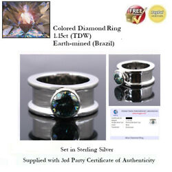 1.15ct Tdw Blue Diamond Solitaire Ring - Sterling Silver + Coa Ggil