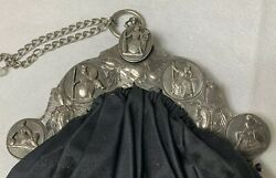 Antique Victorian Silver Embossed Coin Purse Etched Hph 1866 Rare