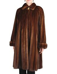 XL - GIANFRANCO FERRE - DESIGNER BROWN WILD TYPE MINK FUR ⅞ COAT wSTORAGE BAG!!