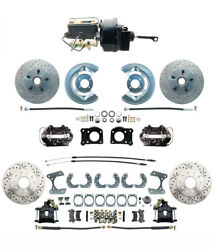 1964-66 Ford Mustang Front And Rear Disc Brake Kit Powder Coated Black Calipers