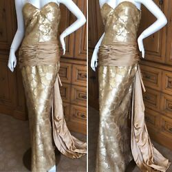 Loris Azzaro Couture 70's Sequin Accented Gold Gown with Side Sash Train