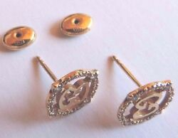 Gucci 750 yellow gold and brown diamond Stardust earrings. Very rare older model