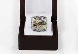 Real 925 Sterling Solid Silver Menand039s Florida Marlins World Series Ring 2003
