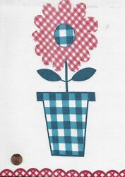 Vintage Gingham Flower Pots With A Border Feed Sack Feedsack