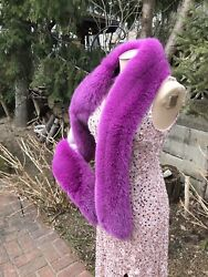 New Fur Magenta fox fur scarf boa Wrap 72 Inches Long New item Made in USA