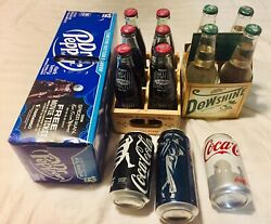 Dublin Dr Pepper With Wood Crate + Collectible Soda Cans And Bottles Bundle Etc.