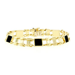 Menand039s 14k Yellow Gold Inlaid Square Black Onyx 8.5 Railroad Link Chain Bracelet