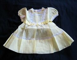 Twinkle Frocks by Kiddies Pal Baby Girl Dress Vintage 1950s Yellow Size 1 Lace
