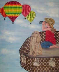 Original Oil Painting-flying Above The Clouds Hot Air Balloon - 20x 24 X 5/8