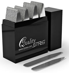 50 Metal Stainless Formal Dress Shirt Collar Stays Bar In a Divided Box