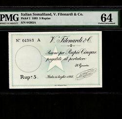 Italian Somaliland 5 Rupias 1893 P-1 Pmg Unc 64 First Issue First Note