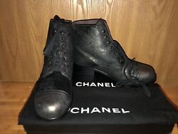 New In Box 100auth Metallic Gris Fonce Short Boots Shoes 40 1.7k