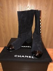 Nib Logo Pearl Suede Patent Tip Boots 39.5