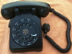 Vintage Black Rotary Dial Phone Desk Western Electric Bell System January 1953