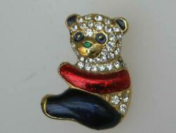 Petite Vintage 80and039s Gold Plated Red/blue/black White Diamante Panda Bear Brooch