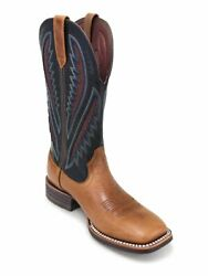 Handmade Menand039s Two Tone Tan Leather Cowboy Mexican Western Texas Boots