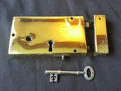 One Reclaimed Antique Brass Georgian Lock With Key And Keep Door Furniture Eb201