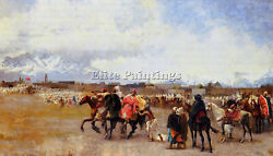 Edwin Lord-weeks Powder Play City Of Morocco Outside The Walls Painting Handmade