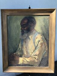 Signed Klein Black Americana Oil On Canvas Of Old Bearded Man 29 1/2 X 24 1/2