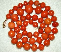 Huge Coral Red Momo Natural Antique Stone Necklace Old Asian beautiful Chain