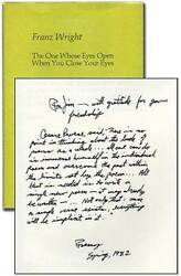 Franz Wright / The One Whose Eyes Open When You Close Your Eyes Signed 1st 1982