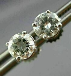 Estate 1.0ct Diamond 14kt White Gold 3d 4 Prong Classic Solitaire Earrings 25768